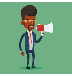 Business man speaking into megaphone vector