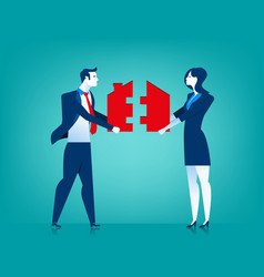 Businessman and woman couple with house jigsaw vector