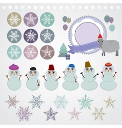 Character set of the new year snowflake snowman vector image