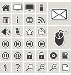 Cmputer and Internet web icons set vector image vector image
