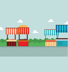 Collection of street stall lined landscape vector