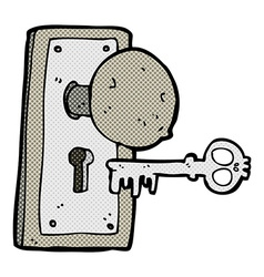 Comic cartoon spooky old door knob vector