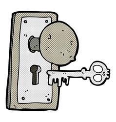 comic cartoon spooky old door knob vector image