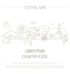 Countryside graphic template Village buildings vector image