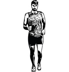 Drawing of running man silhouette vector