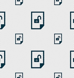 File unlocked icon sign seamless pattern with vector