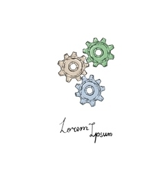 Gears icon doodle style vector