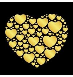 golden hearts on black vector image vector image