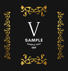 golden luxurious logo frame golden on black vector image