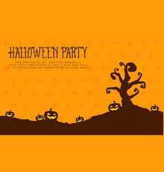 halloween party card pumpkin landscape vector image vector image