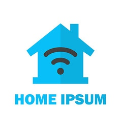 Home with Wireless Network Logo Design vector image