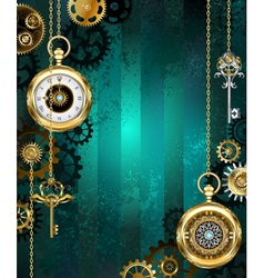 Jewelry Watch on a Green Background vector image vector image