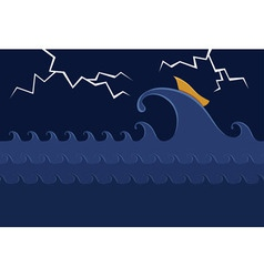 Little boat in the stormy sea vector
