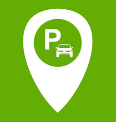 map pointer with car parking icon green vector image