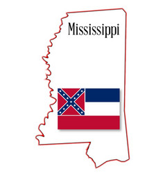 mississippi state map and flag vector image vector image
