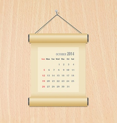 October2014 calendar on wood wall vector
