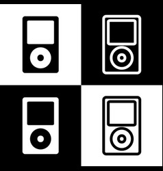 Portable music device black and white vector