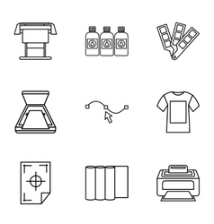 Printing services icons set outline style vector image vector image