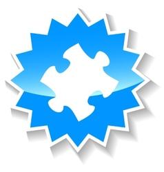 Puzzle blue icon vector