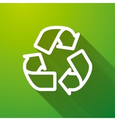 Recycling white icon with long shadow on green vector image