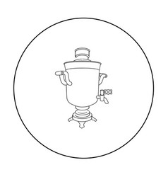 Samovar icon in outline style isolated on white vector