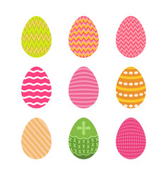 Set of easter eggs in pastel colors with zigzag vector