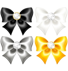 Silk bows black and gold with diamonds vector image
