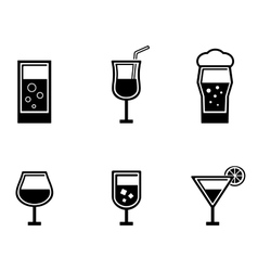six glasses icons vector image vector image