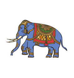 Sketch indian gold decorated elephant vector
