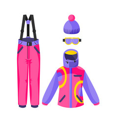 skiing snowboarding outfit - jacket pants vector image vector image