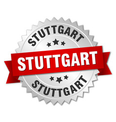 Stuttgart round silver badge with red ribbon vector