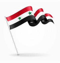 Syrian pin wavy flag vector