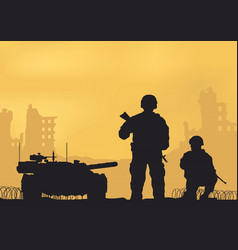 tank ruined city and soldiers vector image