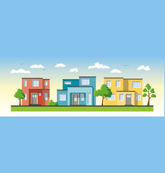 three modern colorful houses vector image vector image