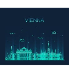 Vienna skyline trendy linear vector