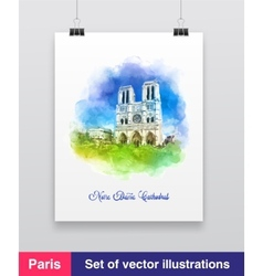 Watercolor of the notre dame vector