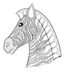 Zentangle zebra head horse vector