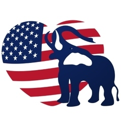 Republican elephant in the background of the heart vector