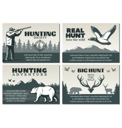 Hunting Society Design Set vector image