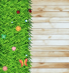 Green grass on wood texture background vector