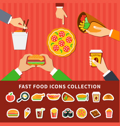 Fast food icons hands flat banners vector