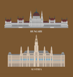 hungary and austria travel icons country vector image
