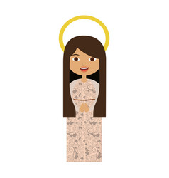 White background of beautiful virgin with long vector