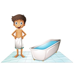A boy in the restroom vector
