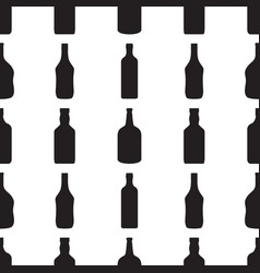 Alcohol bottles seamless patternblack silhouettes vector