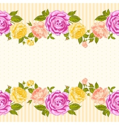 Rose frame invitation card vector