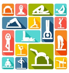 Yoga exercises icons flat vector
