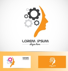 Human head gear idea concept logo vector image
