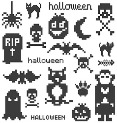 Set of icons on halloween theme vector