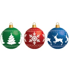 Multi-colored Christmas balls isolated on a white vector image